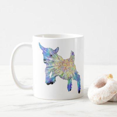 Colorful Cute Baby Goat Jumping Funky Animal Art Coffee Mug