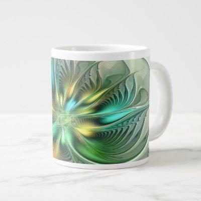 Colorful Fantasy Modern Abstract Flower Fractal Giant Coffee Mug