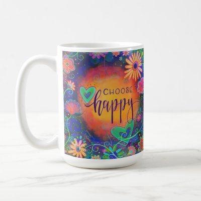 Colorful Floral 'Choose Happy' Coffee Mug