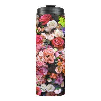 Colorful Flowers in Bloom Floral Bouquet Thermal Tumbler