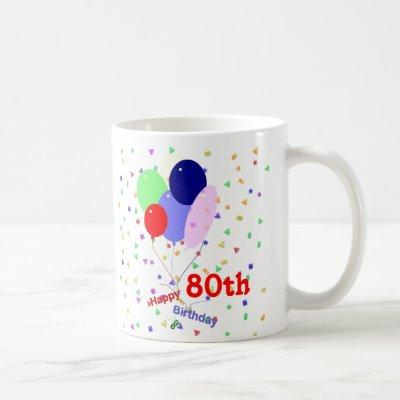 Colorful Happy 80th Birthday Balloons Coffee Mug