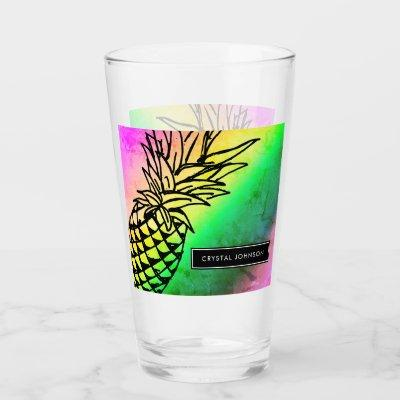 Colorful Ombre Pineapple Personalized Glass