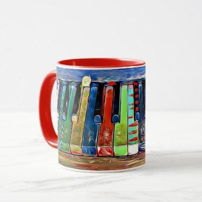 Colorful Painted Piano Keys Artsy Music Coffee Mug