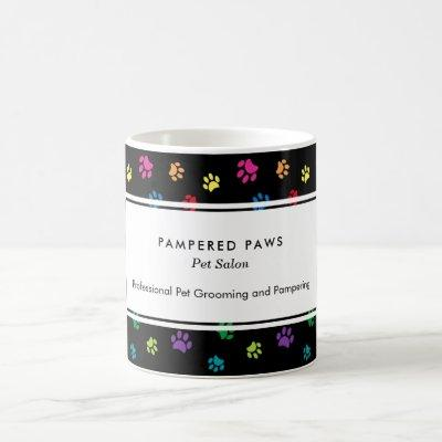 Colorful Paw Prints Professional Pet Salon Black Coffee Mug
