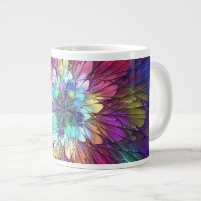Colorful Psychedelic Flower Abstract Fractal Art Giant Coffee Mug