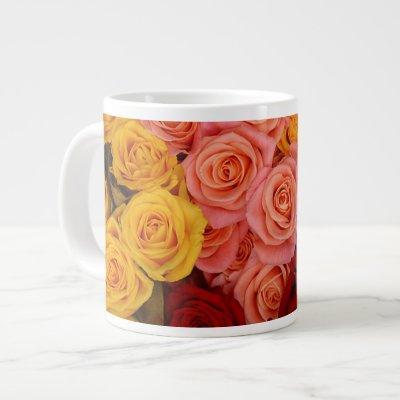 Colorful Roses Large Coffee Mug