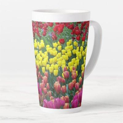 Colorful Tulip Garden Floral Latte Mug