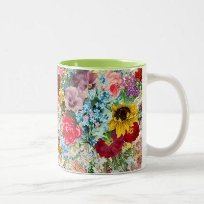 Colorful Vintage Floral Two-Tone Coffee Mug