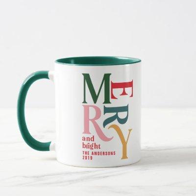 Colorful vintage merry chritsmas favor gift mug