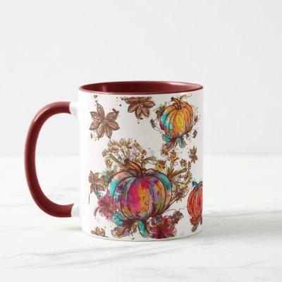 Colorful Watercolor Fall Pumpkins Thanksgiving Mug
