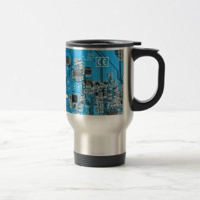 Computer Geek Circuit Board - blue Travel Mug