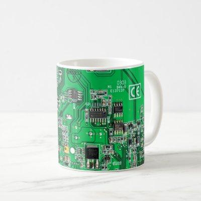 Computer Geek Circuit Board - Green Coffee Mug