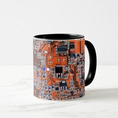 Computer Geek Circuit Board - Orange Mug