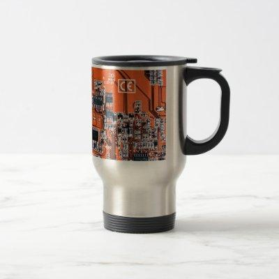 Computer Geek Circuit Board - orange Travel Mug