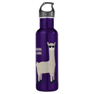 Cool Llama custom name & text water bottles