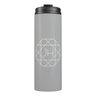 Cool Monogram, Hip Logo Style Vibe | Grey & White Thermal Tumbler