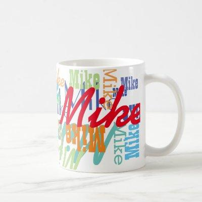 cool pattern of names of different colors coffee mug