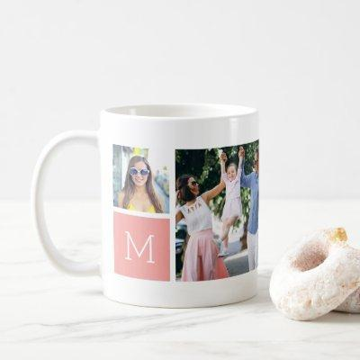 Cool Simple Photo Collage & Monogram Coffee Mug