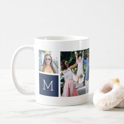 Cool Simple Photo Collage & Monogram Coffee Mug