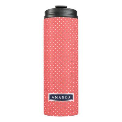 Coral and Navy Blue Tiny Dots Monogram Thermal Tumbler