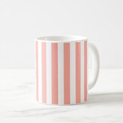Coral and white candy stripes coffee mug