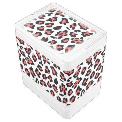 Coral Black Leopard Animal Print Pattern Drink Cooler