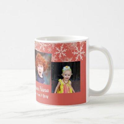 Coral Pink Photo Collage Snowflakes Christmas Coffee Mug