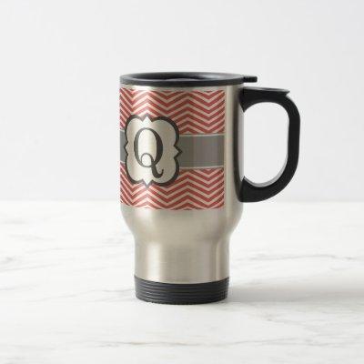 Coral White Monogram Letter Q Chevron Travel Mug