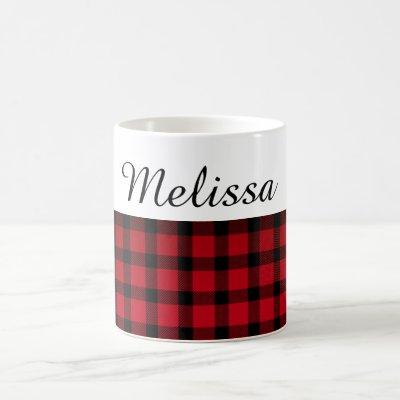 Country Chic Red Black Plaid Custom Name Coffee Mug