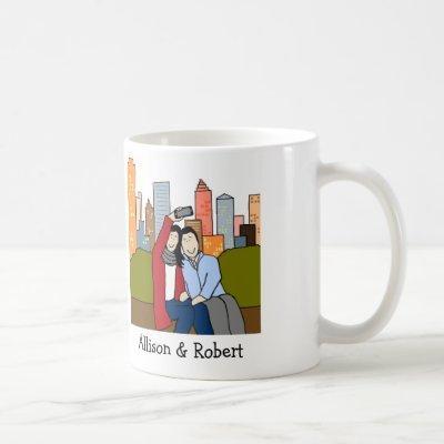 Couple taking selfie- personalized cartoon mug