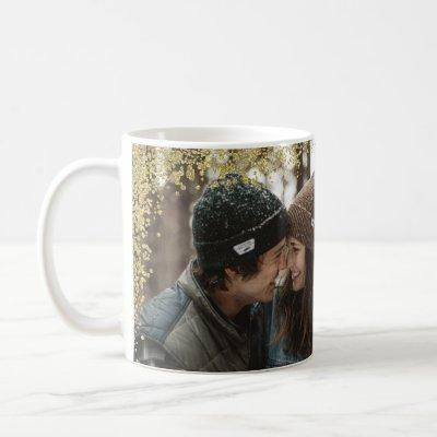 Couples Sweetheart Gold Glitter Photo with Names Coffee Mug