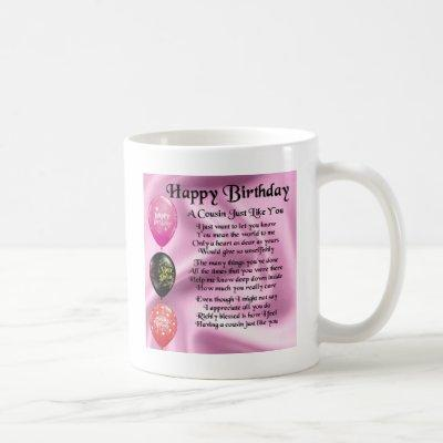 Cousin poem - pink - Happy Birthday Coffee Mug