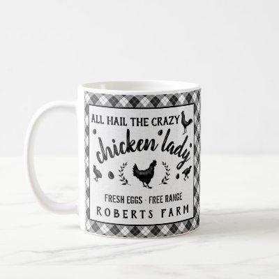 Crazy Chicken Lady Hen Plaid Country Custom Farm Coffee Mug