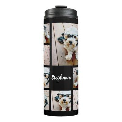 Create a Custom Photo Collage with 8 Photos Name Thermal Tumbler