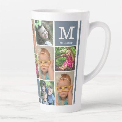 Create Your Own 12 Photo Collage Family Monogram Latte Mug