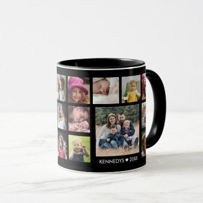 Create Your Own 18 Family Photo Collage Black Mug