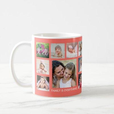 Create Your Own 18 Family Photo Collage Coral Coffee Mug