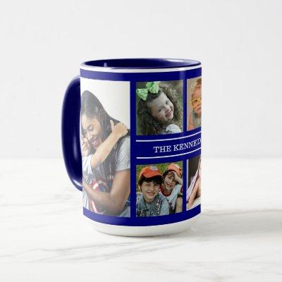Create Your Own 6 Photo Collage Family Name Blue Mug
