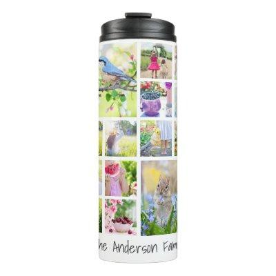 Create Your Own Custom 24 Family Photo Collage Thermal Tumbler