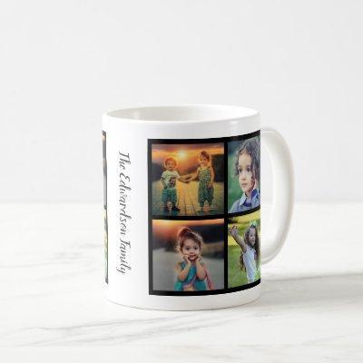 Create your own family photo collage family name coffee mug