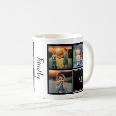 Create your own family photo collage monogram coffee mug