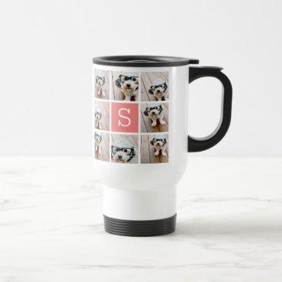 Create Your Own Instagram Collage Custom Monogram Travel Mug