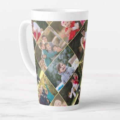 Create Your Own Personalized 6 Photo Collage Text Latte Mug