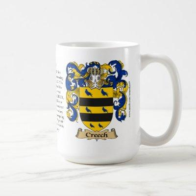Creech, the Origin, the Meaning and the Crest Coffee Mug
