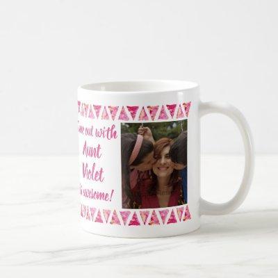 Custom 3 Photos & Text - Pink Watercolor Borders Coffee Mug