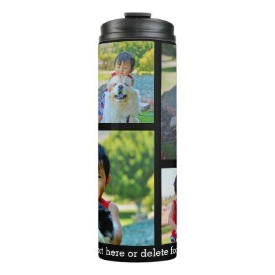 Custom 5 Photo Keepsake Collage Thermal Tumbler