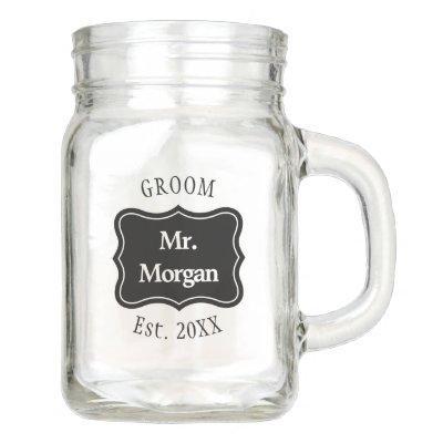 Custom bride and groom wedding mason jar mugs