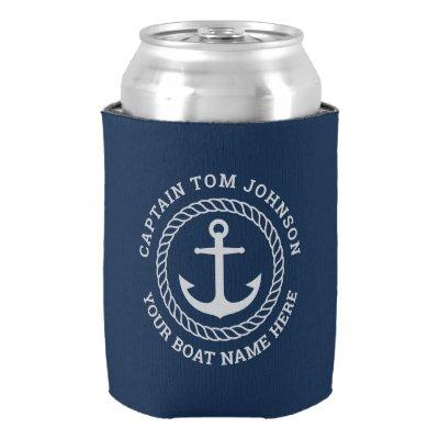 Custom captain and boat name anchor and rope can cooler