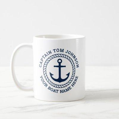 Custom captain and boat name anchor and rope coffee mug