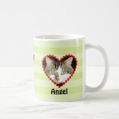 Custom cat photo paw prints memorial coffee mug